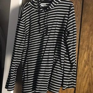 Black and White Striped Long Sleeved hoodie